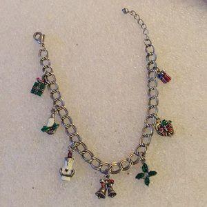 Enamel holiday charms bracelet